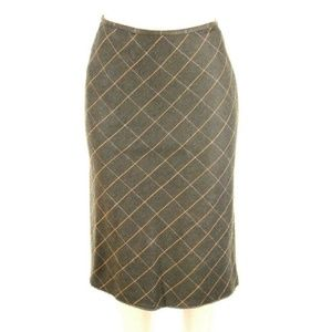 LOFT Womens Skirt Brown Wool Squared Plaid